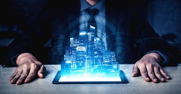 Empresario y hologramas de big data y tecnología