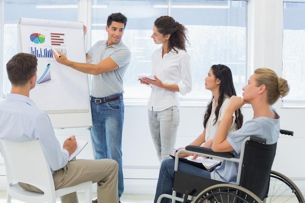 Empresario informal dando presentación a colegas