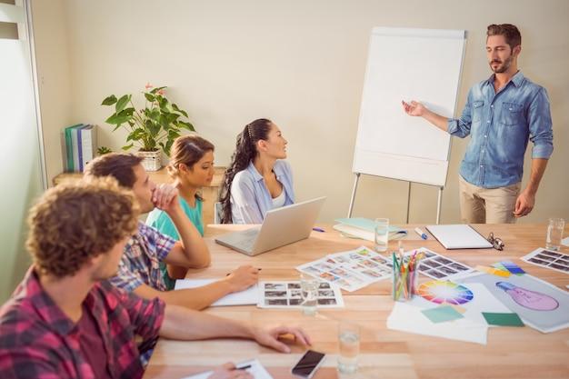 Empresario informal dando presentación a sus colegas
