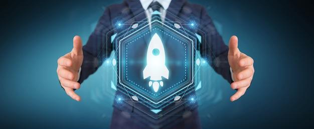 Empresario mediante interfaz digital de inicio