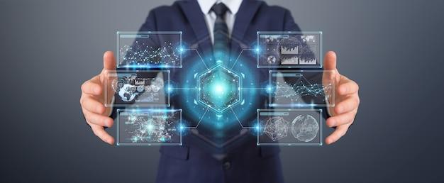 Empresario mediante interfaz de pantallas digitales con datos de hologramas, render 3d