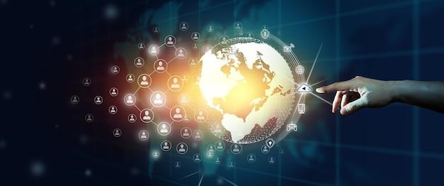 Empresario líder de la comunidad empresarial mundial de comunicación en red conectada. convergencia digital y tecnológica con fondo azul abstracto.