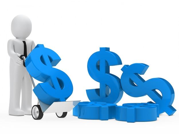 Empresario moviendo símbolos del dolar