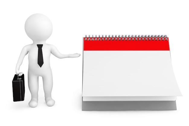 Empresario de persona 3d con calendario en blanco sobre un fondo blanco.