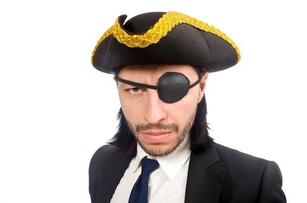 Empresario pirata con tricornio aislado en blanco