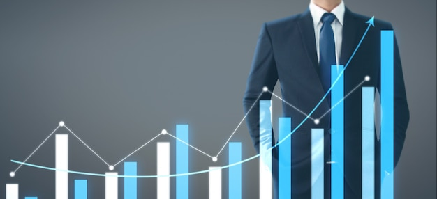 Empresario plan gráfico aumento de crecimiento de la tabla de indicadores positivos en su negocio