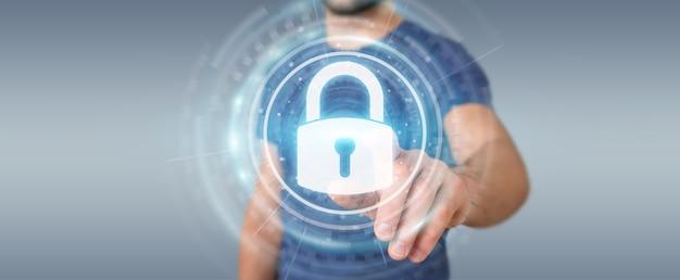 Empresario protegiendo sus datos con interfaz de seguridad