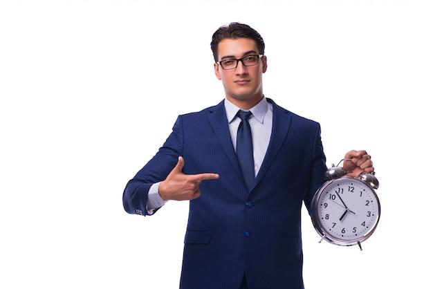 Empresario con reloj despertador