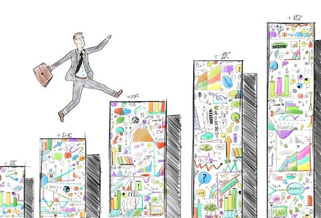 Empresario saltando sobre los pasos de la estadística