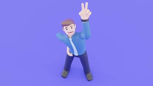 El empresario está sonriendo y levantó la mano para hacer el símbolo de la victoria. concepto exitoso de personas en concepto de representación 3d.