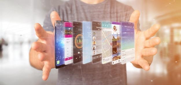 Empresario sosteniendo 3d plantilla de aplicación de representación en un teléfono inteligente