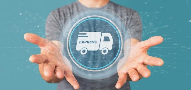 Empresario sosteniendo un botón de entrega rápida con conexión 3d