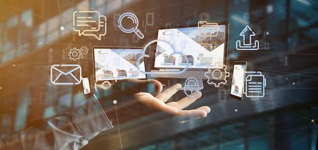 Empresario sosteniendo dispositivos conectados a una red multimedia en la nube renderizado 3d