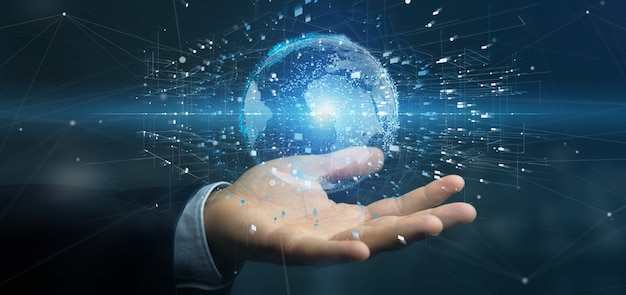 Empresario sosteniendo un globo terráqueo de datos