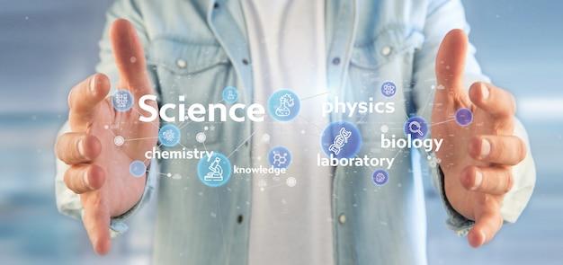 Empresario sosteniendo los iconos de la ciencia y el título