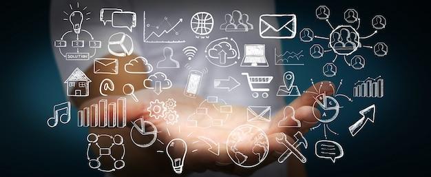 Empresario sosteniendo los iconos web dibujados a mano