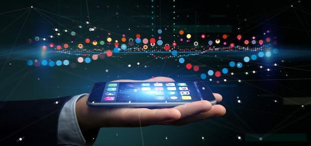Empresario sosteniendo una información de datos de comercio de bolsa