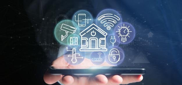 Empresario sosteniendo la interfaz de casa inteligente con icono, estadísticas y datos