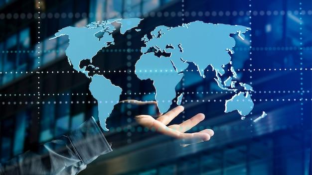Empresario sosteniendo un mapa del mundo conectado en una interfaz futurista - render 3d