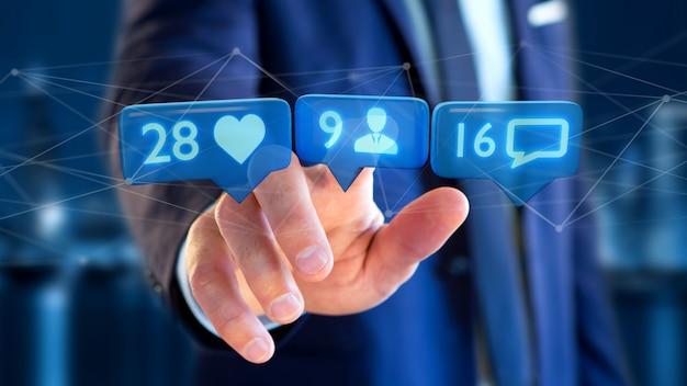 Empresario sosteniendo una notificación de me gusta, seguidor y mensaje en una red social - render 3d
