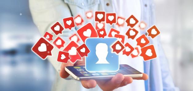 Empresario sosteniendo una notificación similar en un contacto en una representación 3d de redes sociales