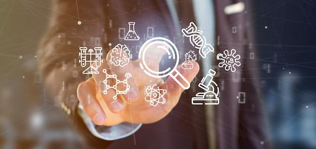 Empresario sosteniendo una nube de icono de la ciencia