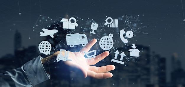 Empresario sosteniendo una organización logística con icono y conexión