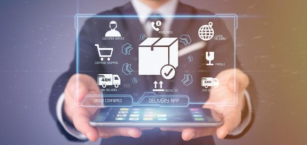 Empresario sosteniendo una pantalla de aplicación de entrega logística