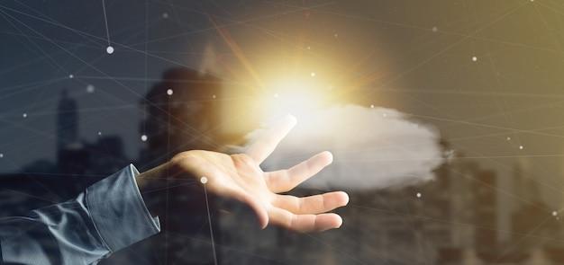 Empresario sosteniendo una previsión del tiempo sol y nubes renderizado 3d