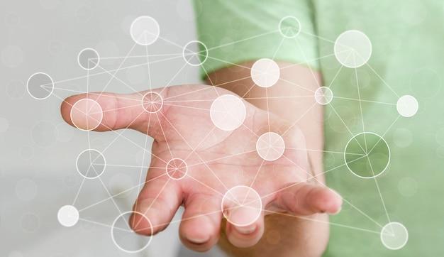 Empresario sosteniendo una red de datos digitales en su mano.