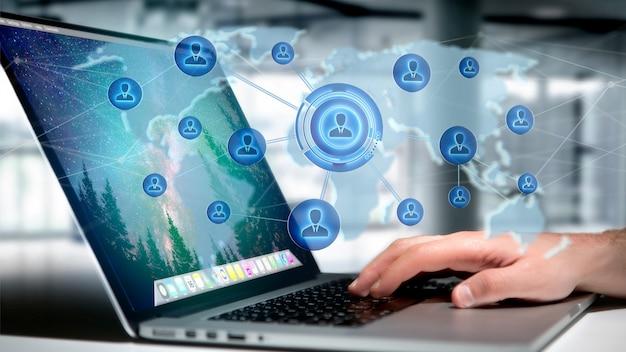 Empresario sosteniendo una red sobre un mapa mundial conectado