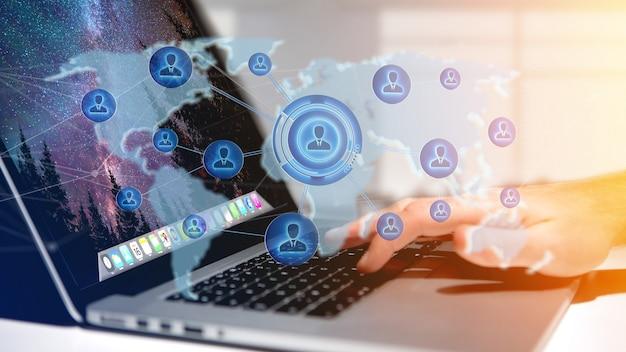 Empresario sosteniendo una red sobre un mapa del mundo conectado