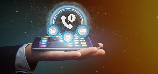 Empresario sosteniendo un servicio de atención telefónica al cliente y asistencia 3d
