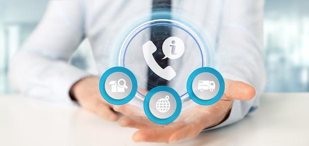 Empresario sosteniendo un servicio de atención telefónica al cliente y asistencia.