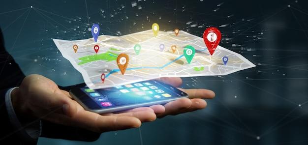 Empresario sosteniendo un soporte de pin de representación 3d en un mapa