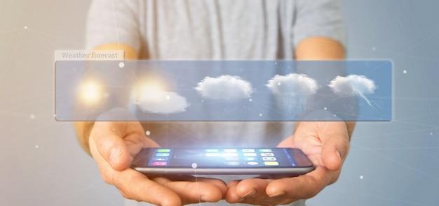 Empresario sosteniendo un widget de previsión meteorológica renderizado 3d