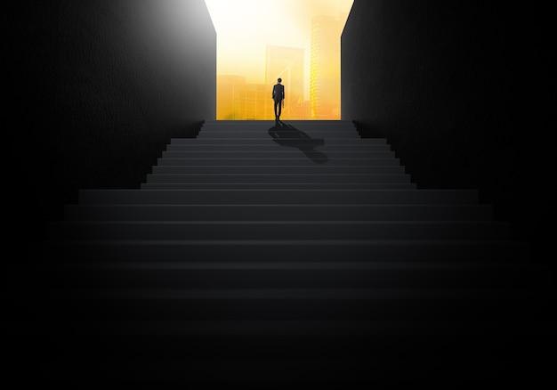 Empresario subiendo escaleras para ir a un nuevo negocio