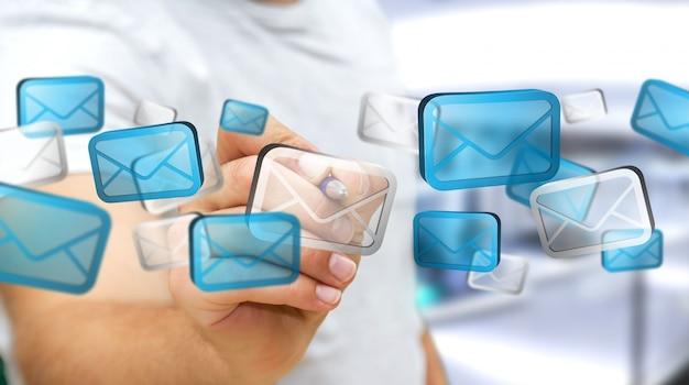 Empresario tocando el correo electrónico digital