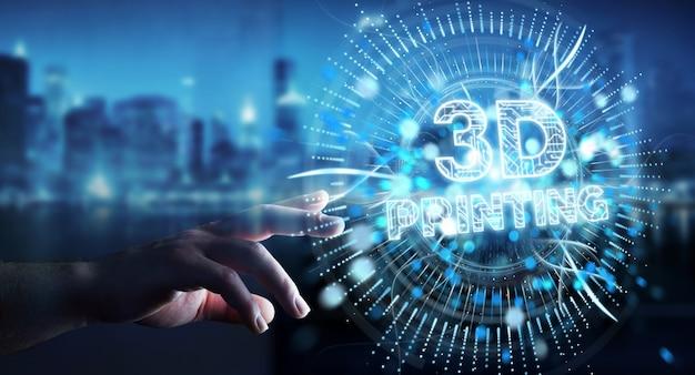 Empresario usando holograma digital de impresión 3d