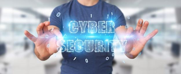 Empresario utilizando holograma de texto de seguridad cibernética