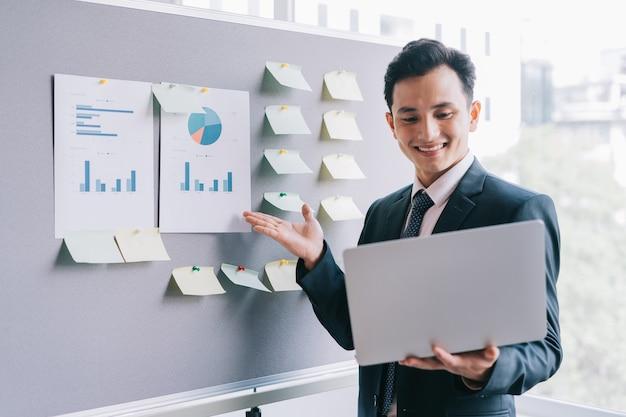 Los empresarios asiáticos están planeando un negocio junto al tablero del plan