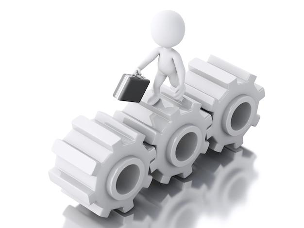 Empresarios blancos 3d con maletín en la rueda de engranaje