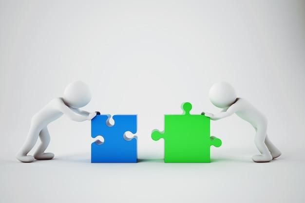 Empresarios blancos construyen una empresa. concepto de asociación y trabajo en equipo. representación 3d