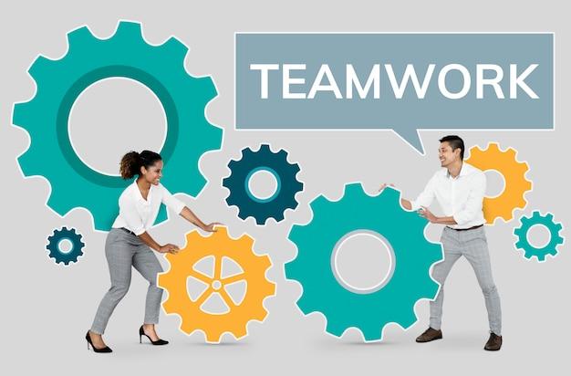 Empresarios centrados en el trabajo en equipo.