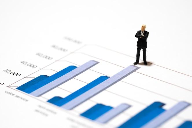 Empresarios de figuras en miniatura de pie en un documento de revisión de análisis financiero gráfico gráfico con el