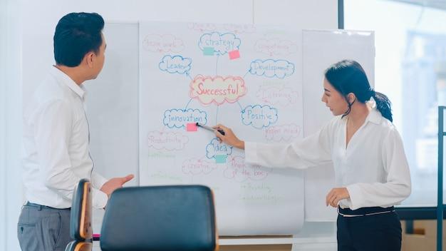 Empresarios y empresarias de asia que se reúnen ideas de lluvia de ideas que conducen a colegas del proyecto de presentación comercial que trabajan juntos planean la estrategia de éxito disfrutan del trabajo en equipo en una pequeña oficina moderna.