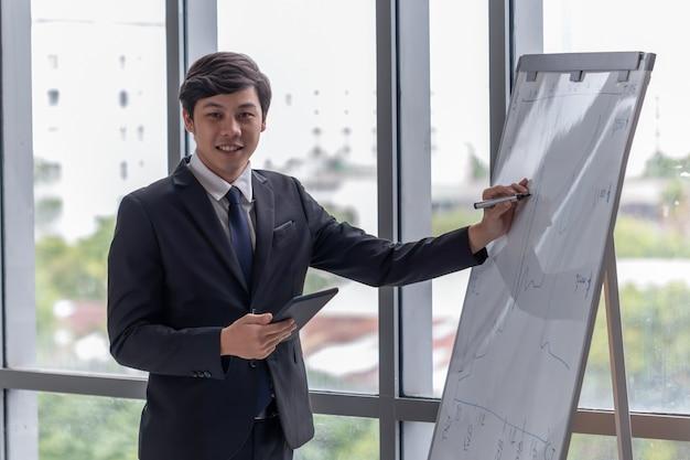 Los empresarios explican el trabajo en la oficina