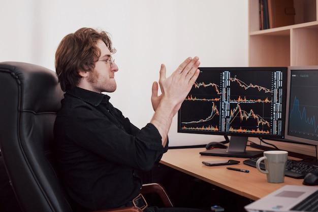 Empresarios que negocian acciones en línea. agente de bolsa mirando gráficos, índices y números en múltiples pantallas de computadora. concepto de éxito empresarial