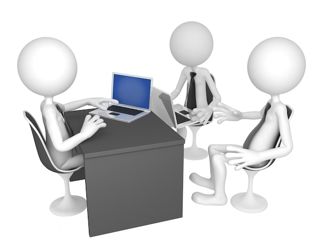 Los empresarios se reunieron alrededor de una mesa para una reunión