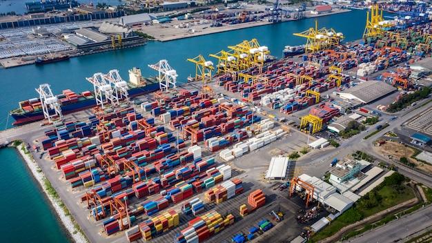 Empresas y grupos de logística de la industria de transporte marítimo de contenedores de carga de importación y exportación internacional miedo mar